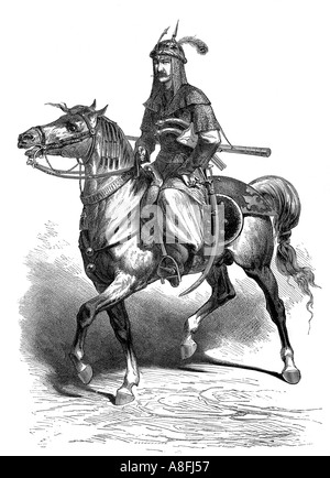 19th century engraving entitled Kurdish Horseman One of the Escort During a Royal Hunt in Persia Antique engraving c 1870