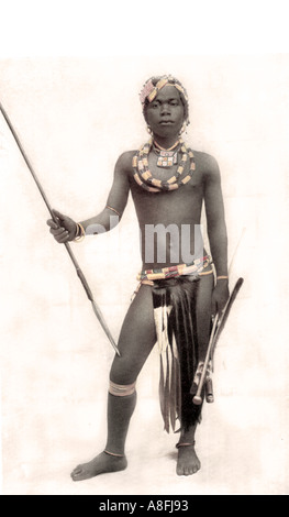 Late Nineteenth Century litho print depicting a Zulu warrior South Africa Antique lithographic print - Stock Photo