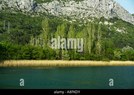 River Cetina and Canyon landscape of Omis Makarska Riviera Adria Dalmatia Adriatic coast Croatia - Stock Photo