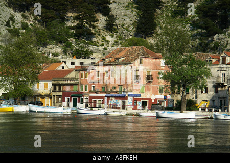 River Cetina and Canyon Omis Omis Makarska Riviera Adria Dalmatia Adriatic coast Croatia - Stock Photo