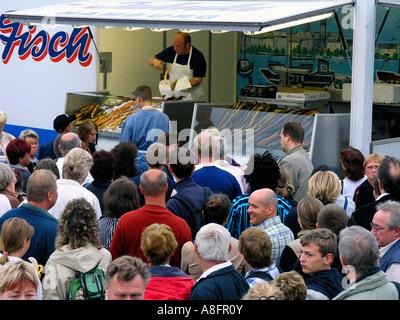 Sunday fish market in Hamburg Germany - Stock Photo