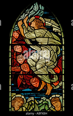 Angel with cherubs, North Window in Jesus Church, Troutbeck. Lake District National Park, Cumbria, England, U.K., - Stock Photo