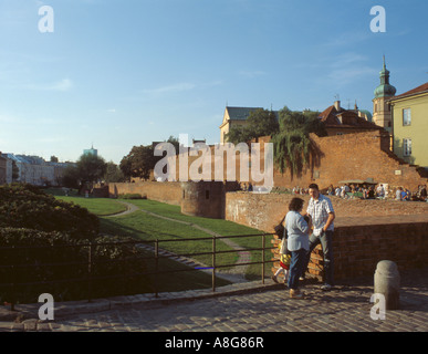 View along the old city walls, Warsaw Old Town, Mazovia, Poland. - Stock Photo