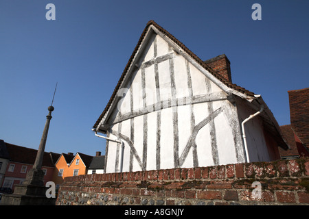 Lavenham Suffolk England The Toll Cottage Timber frame and limewash medieval architecture building Market Square - Stock Photo