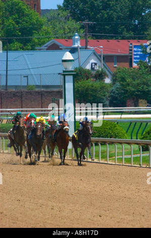 Thoroughbred race horses sprinting for the finish line during race at Churchill Downs in Louisville KY - Stock Photo