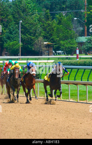 Thoroughbred race horses sprinting for the finish line down the home stretch during race at Churchill Downs in Louisville - Stock Photo