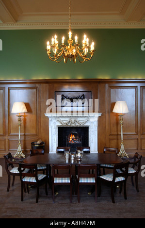 A GEORGIAN SILVER COFFEE SET LAID OUT ON THE TABLE IN THE DINING ROOM AT HALSWELL HOUSE NEAR BRIDGWATER SOMERSET - Stock Photo