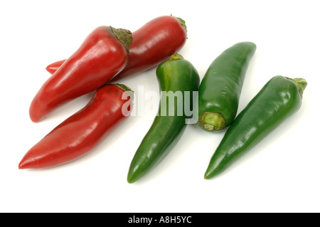 Vegetable produce typical supermarket bought red green chili peppers - Stock Photo