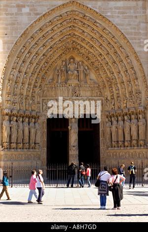 Notre Dame cathedral main porch - Paris, France - Stock Photo