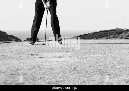 Man Playing Golf In Front Of The Sea Sicily Italy - Stock Photo