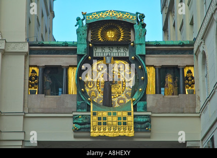 Ankeruhr the so called Anchor clock in Hohermarkt square in Vienna Austria EU - Stock Photo