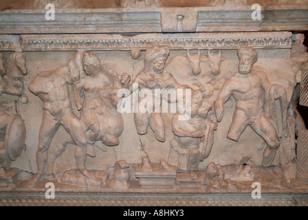 Antiquities from the Roman period on display in the Sarcophagus Room of Antalya Regional Museum Antalya Turkey - Stock Photo