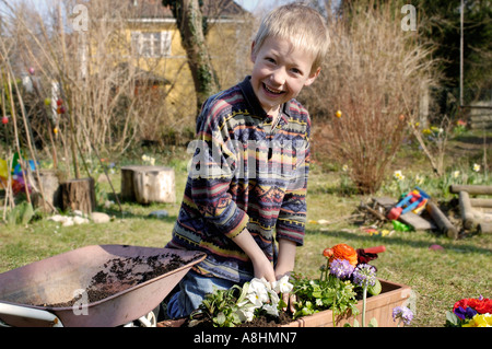 Seven year old boy are planting flowers in spring - Stock Photo