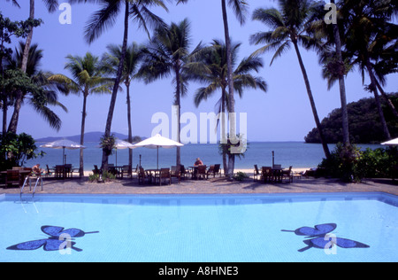 The pool at the Dunk Island Resort off Mission Beach Tropical Far North Queensland Australia - Stock Photo
