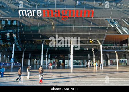 Mare Magnum at the boardwalk, water front, shopping mall, amusement park, Rambla del Mar, Barcelona, Catalonia, - Stock Photo