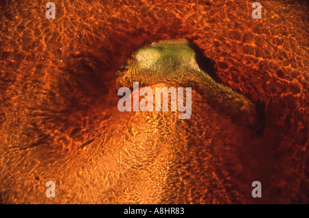 Abstract detail river of clear tannin stained water flowing over sand with eddy around a stone - Stock Photo
