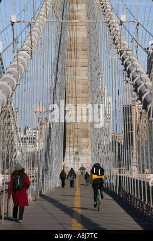 Morning view of the Brooklyn Bridge in New York City between Brooklyn and Manhattan USA Feb 2006 - Stock Photo