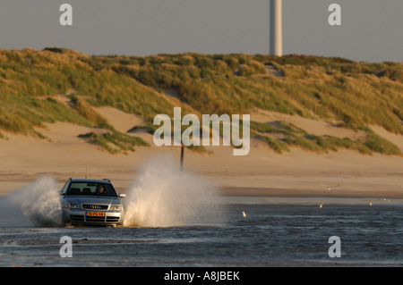 Audi S4 wagon car V6 Biturbo engine 2000 2001 Germany in full action on the beach landscape A4 Quarter - Stock Photo