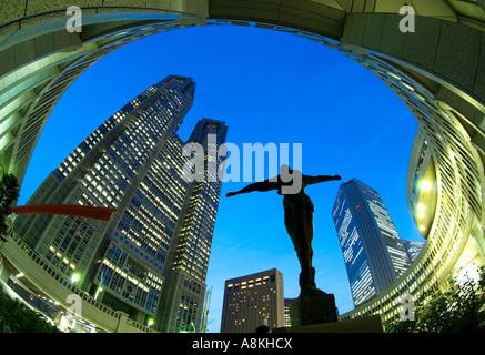 Sculpture outside Metropolitan City Hall in Shinjuku Tokyo Japan - Stock Photo