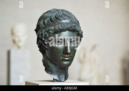 Hall of Diomedes, bronze head of a young man, Glyptothek, Munich, Bavaria, Germany - Stock Photo