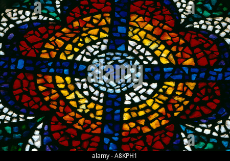 Stained glass window in the memorial church on Mount Nebo, Jordan.  Moses viewed the Promised Land from Mount Nebo. - Stock Photo