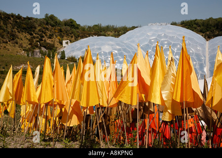 Plastic Flowers At The Eden Project Cornwall U.K. Europe - Stock Photo