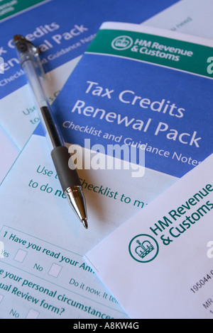 Tax Credit Renewal Pack application form HMRC - Stock Photo