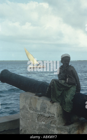 Old world scene on the island of Lamu, north coast of Kenya - Stock Photo