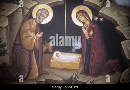 Mural of the Nativity from Panormitis Greek Orthodox Monastery on  Symi Island - Stock Photo