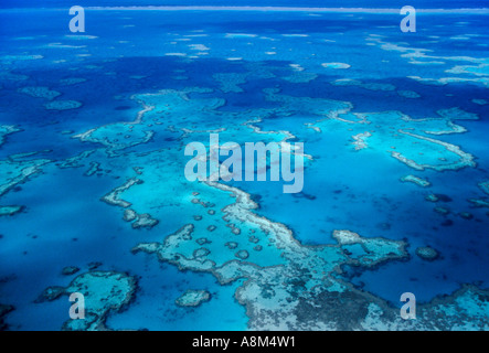 Aerial view of coral Great Barrier Reef N Queensland Australia horizontal  - Stock Photo
