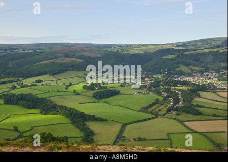 Porlock Somerset Great Britain A view across the village to the hills of Exmoor National Park - Stock Photo