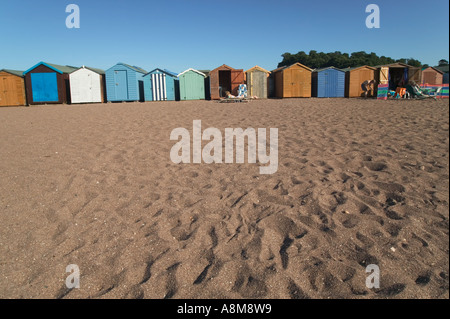 Beach huts on the Back Beach inside the estuary of the River Teign Teignmouth Devon Great Britain - Stock Photo