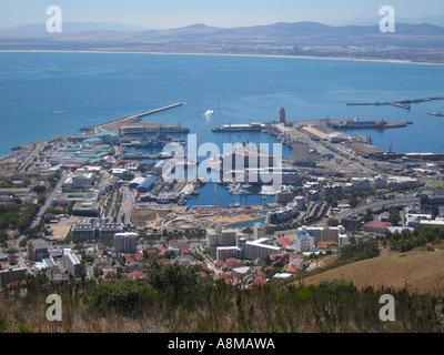 View of V and A Waterfront from Signal Hill Cape Town South Africa - Stock Photo