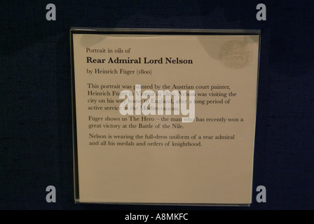 Rear Admiral Lord Nelson Portrait by Heinrich Fuger 1800 Discription - Stock Photo