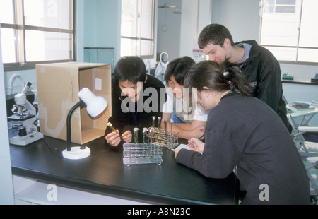 Multi Ethnic Group Of High School Students Studying In Classroom Chemistry Lab Class - Stock Photo