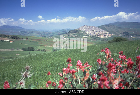 Landscape in Central Sicily Italy - Stock Photo
