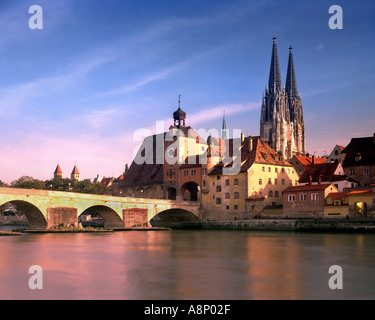 DE - BAVARIA: Regensburg, St. Peter's Cathedral and historic Stone Bridge - Stock Photo