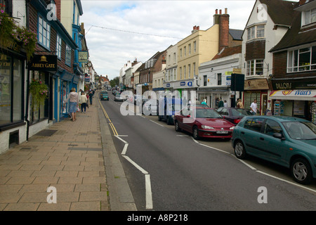 Battle High Street in east Sussex looking North away from the Abbey - Stock Photo