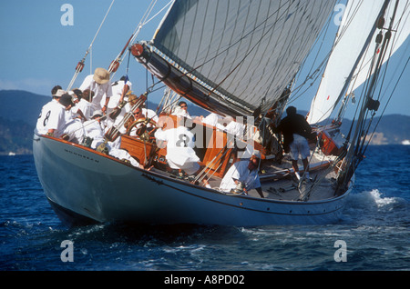 Moonbeam IV in the first race of the International classic yacht regatta 2003 Auckland New Zealand - Stock Photo