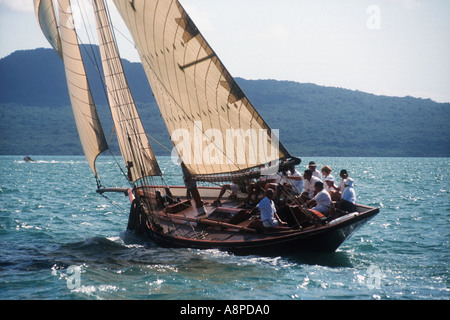 1894 Logan designed Gaff Cutter Waitangi 2000 Logan Classic Regatta Hauraki Gulf Auckland New Zealand - Stock Photo