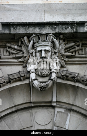 The Britannia Adelphi Hotel in Liverpool face in the masonry above the front entrance - Stock Photo