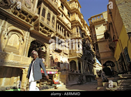 Patwon-ki Haveli in Jaisalmer in Rajasthan, India - Stock Photo