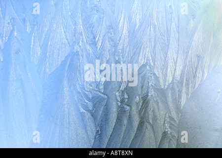 All Natural -- Ice Pattern on Glass, a close-up - Stock Photo