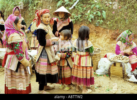 Group of traditionally dressed, Flower Hmong women and girls at the Saturday market, Can Cau, NW Viet Nam - Stock Photo
