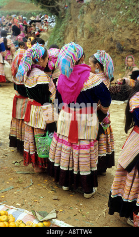 Group of  traditionally dressed Flower Hmong women at the Saturday market, Can Cau, NW Viet Nam - Stock Photo