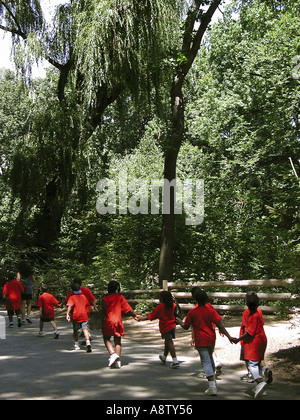 Group of kids in a single file holding hands walking through a tree covered path - Stock Photo