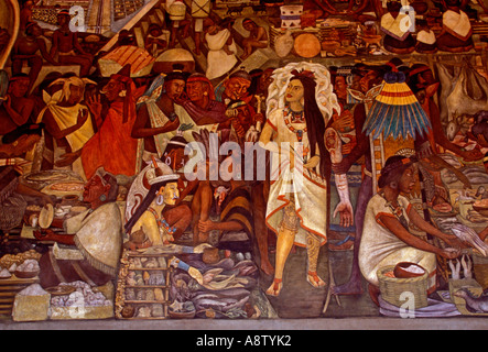 The Great Tenochtitlan, 1945, mural, mural by Diego Rivera, Diego Rivera, National Palace, Mexico City, Federal - Stock Photo