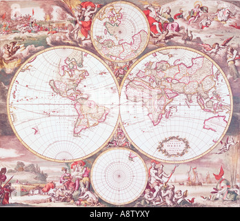 Still-life of classic old map of the world. Terrarum Orbis Tabula by Frederick de Wit, circa 1675. - Stock Photo