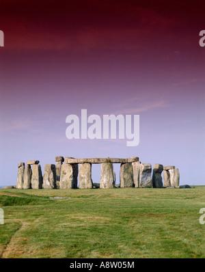 England. Wiltshire. Stonehenge prehistoric standing stones circle. - Stock Photo