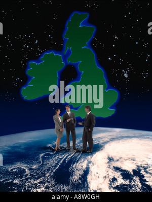 Conceptual montage image of three business people standing on planbet earth globe with map of British Isles background. - Stock Photo